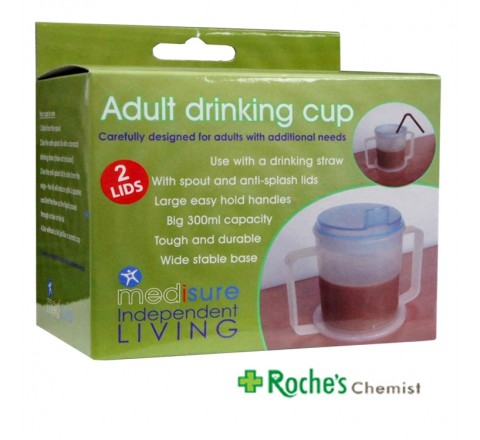 Adult Drinking Cup 2 Handled + 2 Lids