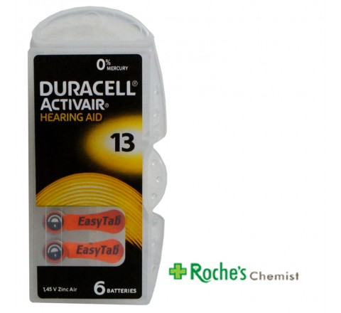 Duracell DA 13 Hearing Aid Batteries x 6