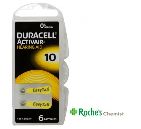 Duracell Hearing Aid Batteries #10 x 6