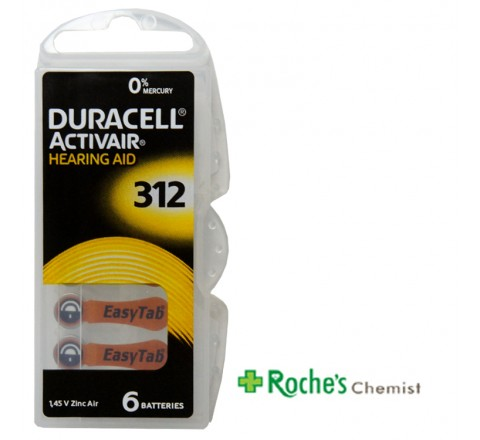 Duracell Hearing Aid Batteries #312 x 6