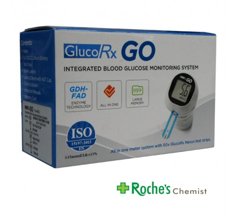 GlucoRX Go Blood Glucose Monitor + 50 Test Strips