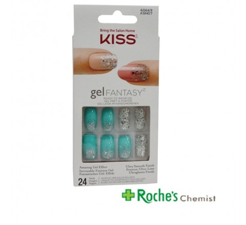 Kiss Gel Fantasy Nails KGN07 Green / Glitter