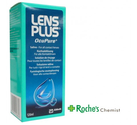 Lens Plus OcuPure 120ml Saline for all Contact lenses